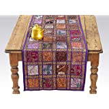 Purple Patchwork Embroidered Table Runner - Indian Sequin Cotton Boho Bohemian Hippie Patchwork Runner Tapestry Wall…