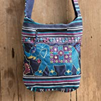 Changnoi Unique Women Hippie Sling Messenger Bag with Elephant Embroidered, Hand Woven Cotton in Navi Blue