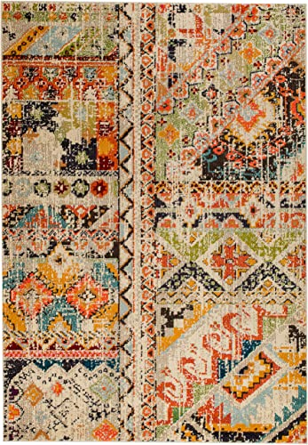 Rugs and Decor Casba Collection Style 512 Area Rug Beige Multi Colored Farmhouse Distressed Bohemian Chic Large 2 x7 Hallway Runner
