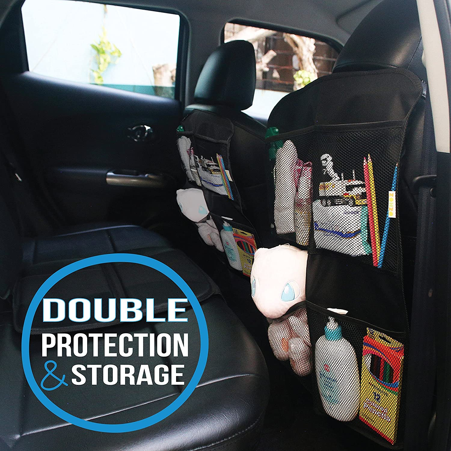 Kick Mats Back Seat Protector by Zohzo 2 Pack Luxury Seat Covers for The Back of Your Front Seat Backseat Child Kick Guard Protector Cover