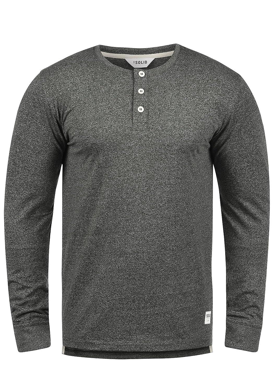 !Solid Espen Herren Longsleeve Langarmshirt Shirt Mit Grandad-Ausschnitt Aus 100% Baumwolle