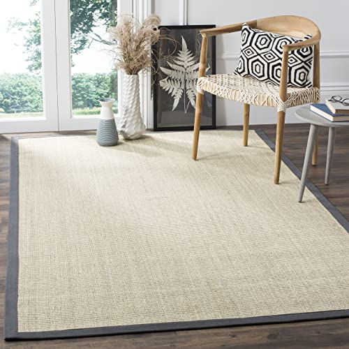 Safavieh Natural Fiber Collection NF441B Hand Woven Marble and Grey Sisal Area Rug 10' x 14'