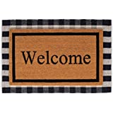 BIRDROCK HOME Layered Welcome Mats - Standard Welcome Mat - Natural Fade - Vinyl Backed - Outdoor - Front Door Entryway Mats