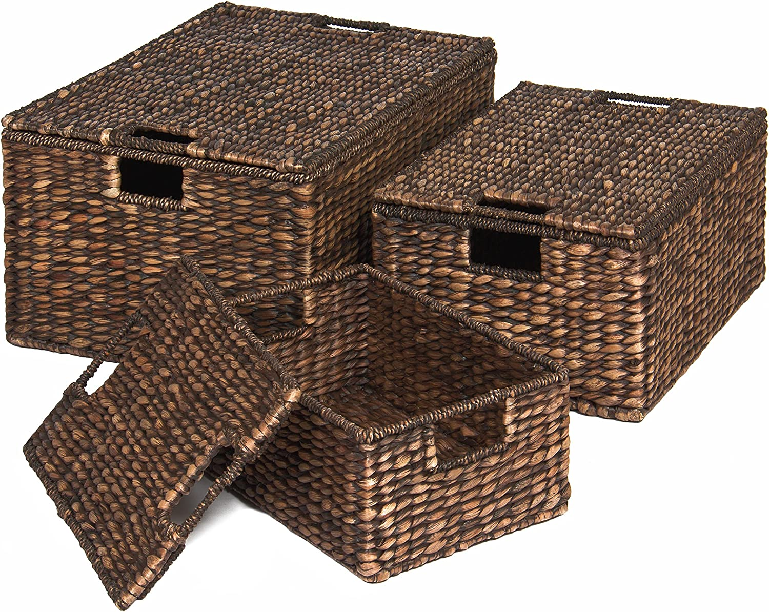 Best Choice Products Set of 3 Multipurpose Classic Water Hyacinth Woven Storage Basket Chests w/Attached Lid, Handle Holes, Brown