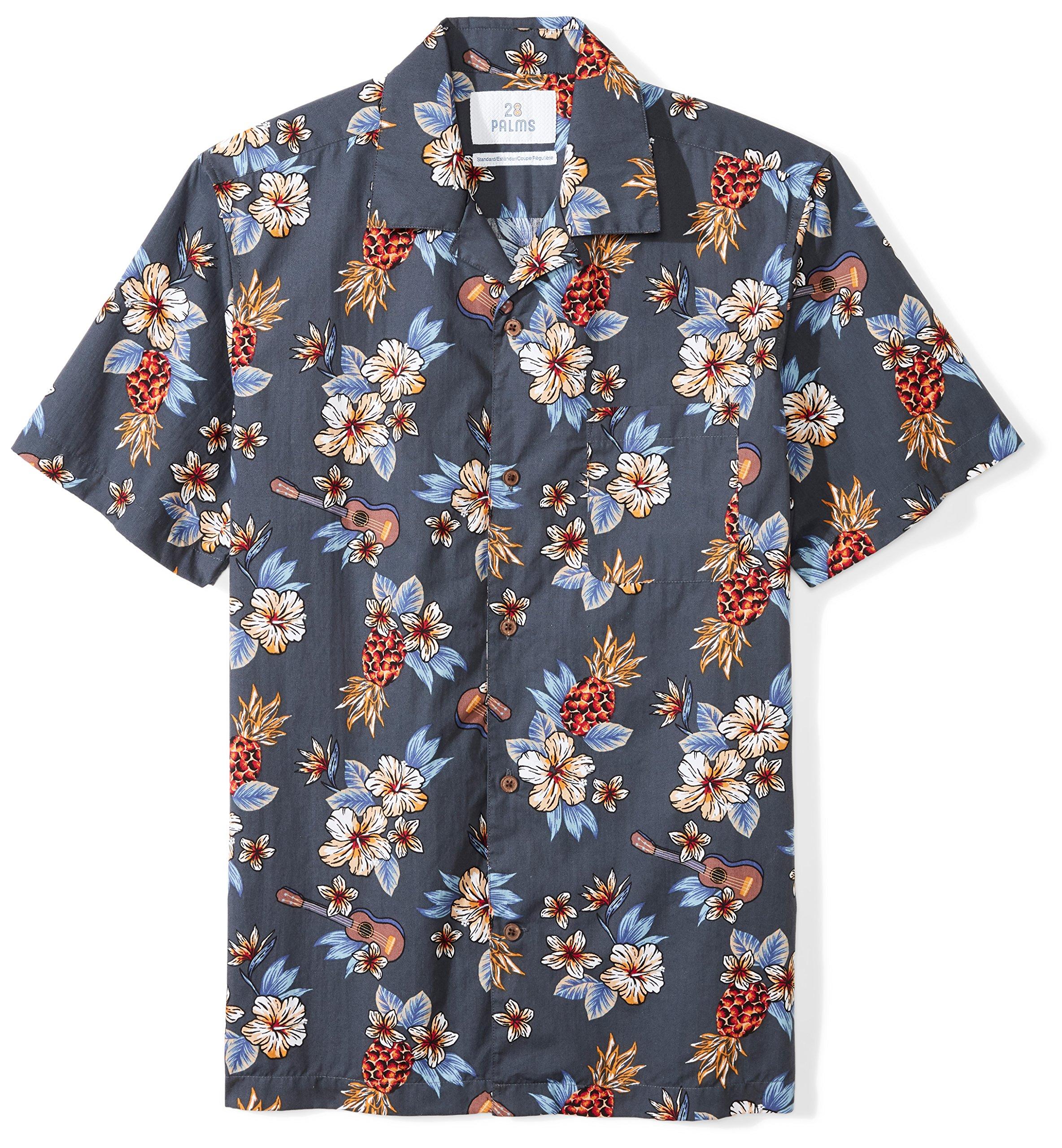 28 Palms Men's Standard-Fit 100% Cotton Tropical Hawaiian Shirt, Blue Guitar Floral, Large by 28 Palms
