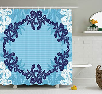 Floral Shower Curtain By Ambesonne Abstract Art Vector Ornament Of Flowers And Leaves Illustration