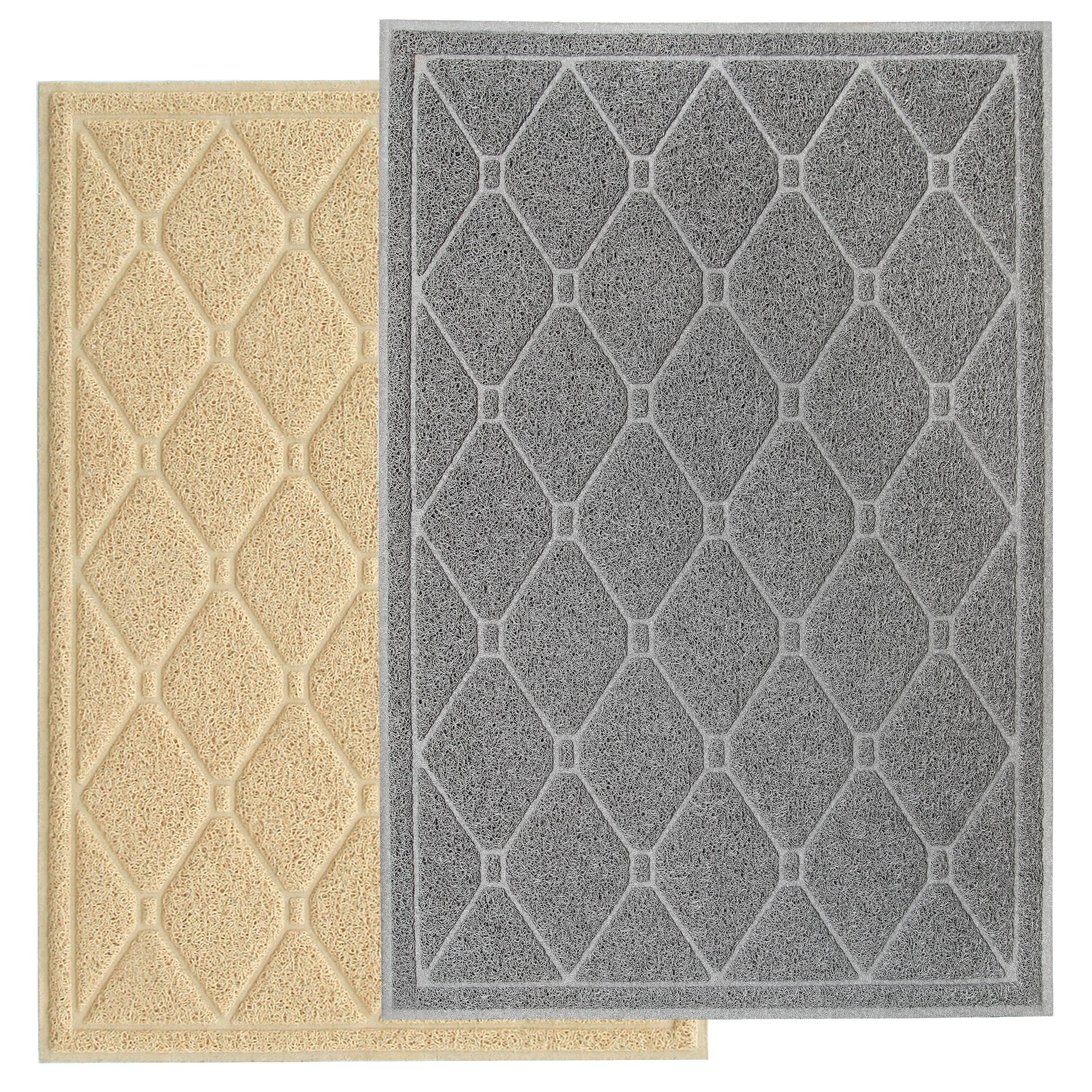 Pet Pagoda Premium Quality Extra Large Litter Trapping Mat for Scatter Control Featuring Durability, Comfort, Water & Urine Resistance & Easy Cleaning with Unique Attractive Design (Gray)