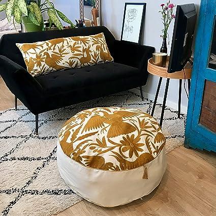 Amazon UniqueWorldDesign Round Gold And Off White Otomi Pouf Cool White And Gold Pouf