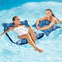 Aqua Monterey Hammock 2 Pack, 4-in1- Multi-Purpose Inflatable Pool Float, Portable, Premium Fabric, Fade, & Stain Resistant, Blue.