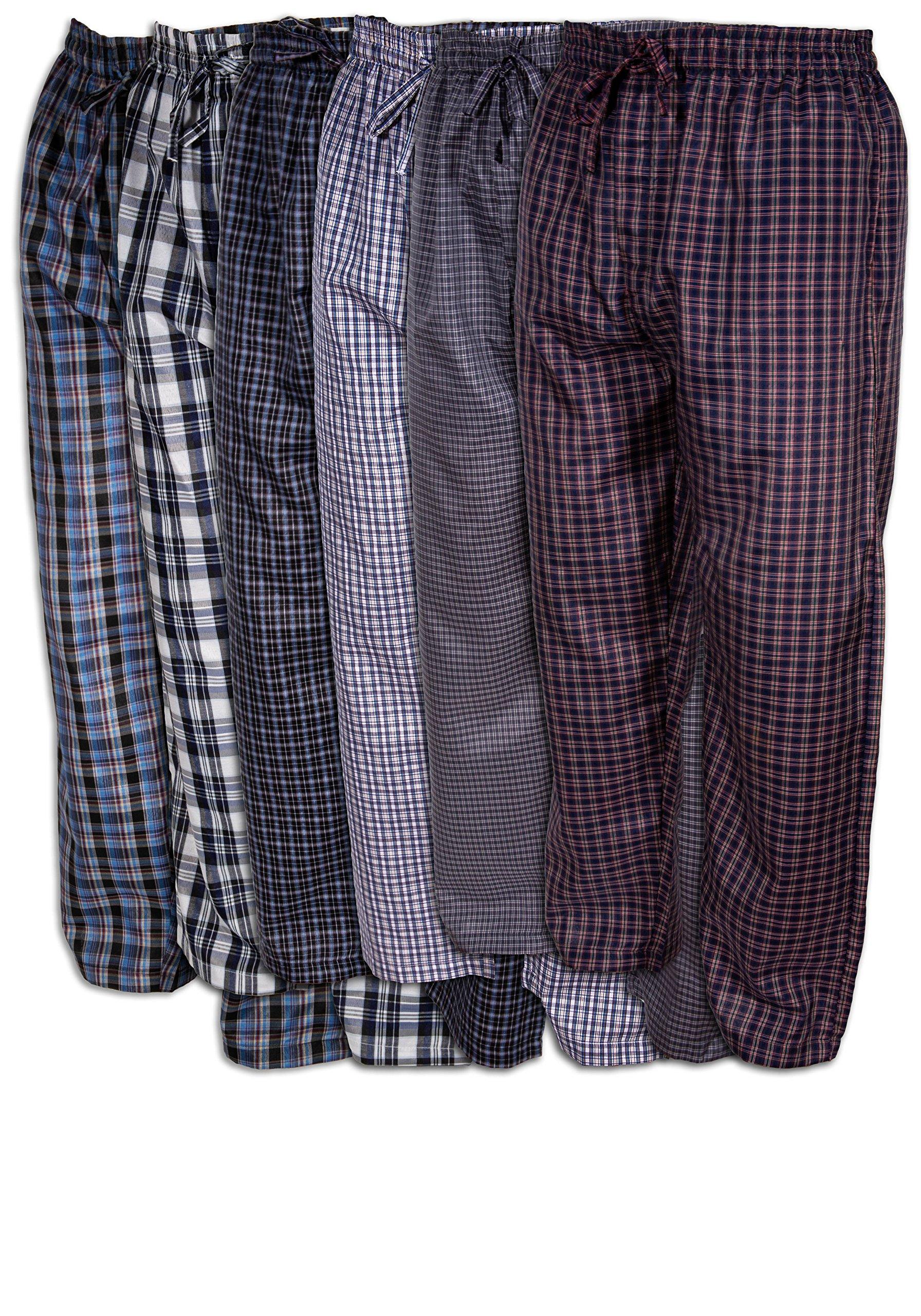 Basics Men's 6 Pack Woven Drawstring Thin - Lightweight Sleep & Lounge Pants (XL 40-42, 6 Pack - Assorted Classic Plaids)
