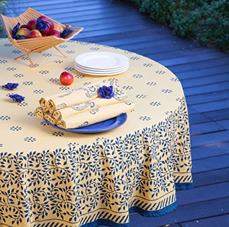Yellow Provence Handmade Hand Screen Printed Tablecloth (90u0026quot; ...