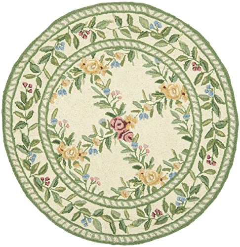 Safavieh Chelsea Collection HK60A Hand-Hooked Ivory Premium Wool Round Area Rug 3 Diameter