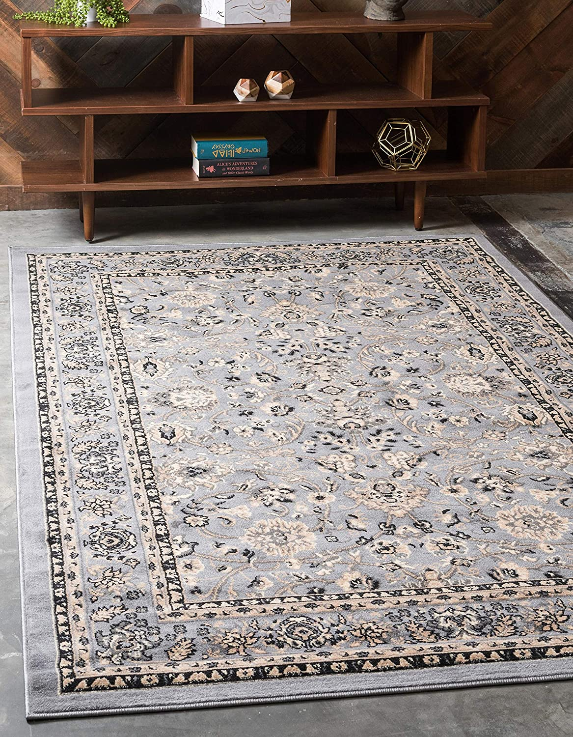 Unique Loom Kashan Collection Traditional Floral Overall Pattern with Border Gray Area Rug (2' 2 x 3' 0)