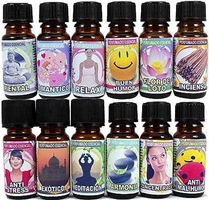 12 Botellas Aceites Esenciales Perfumados Concentrados REF32 Pack Meditación - Incluye las Fragancias más exclusivas -