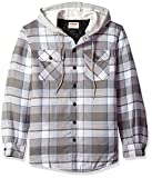 Wrangler Authentics Men's Long Sleeve Quilted Line Flannel Jacket with Hood, Cloud Burst with Gray hood, S