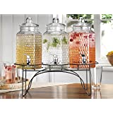 Elegant Home (3) 1 Gallon Each Quality Ice Cold Clear Glass Jug Beverage Dispensers Hermetic Seal Metal Display