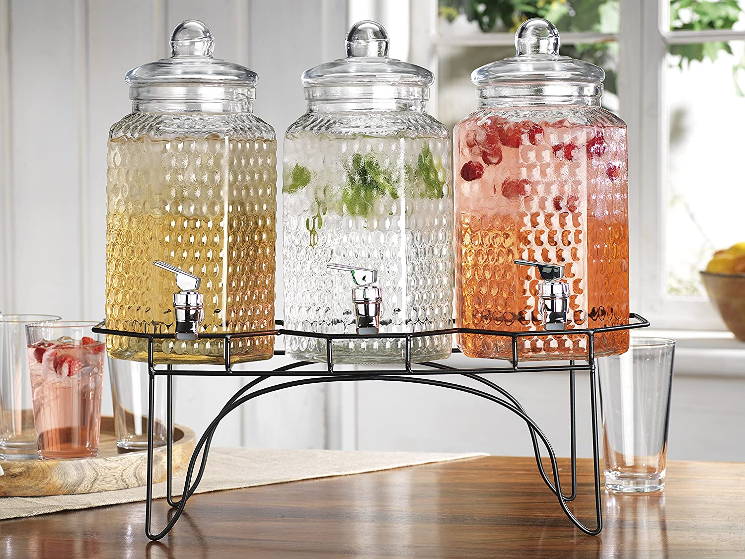 Elegant Home (3) 1 Gallon Each Quality Ice Cold Clear Glass Jug Beverage Dispensers Hermetic Seal Metal Display EH 3592