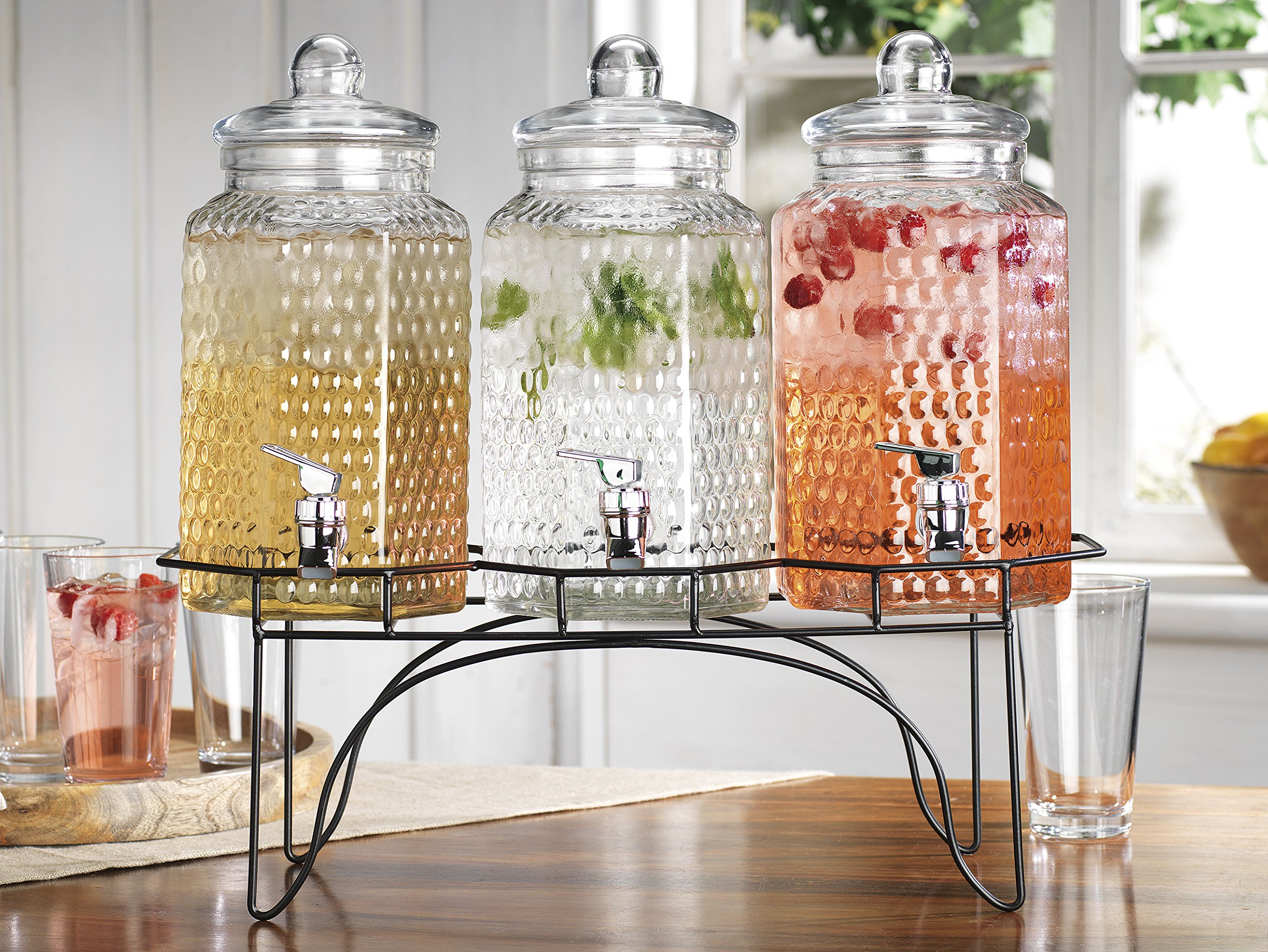 Elegant Home (3) 1 Gallon Each Quality Ice Cold Clear Glass Jug Beverage Dispensers Hermetic Seal Metal Display by HC