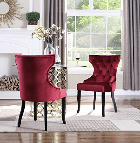 Iconic Home Naomi Wingback Dining Chair Button Tufted Velvet Upholstered Tapered Espresso Wood Legs Modern Transitional Set of 2