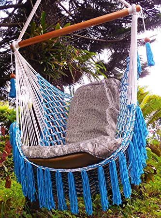 Macrame Hammock Chair 100% Hanmade Cotton Beige And Light Blue/ Indoor  Outdoor Chair Hammock