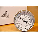"""K&B Beer Brew Thermometer - 3"""" Dial Face, 6"""" Stainless Probe, 1/2"""" MPT"""