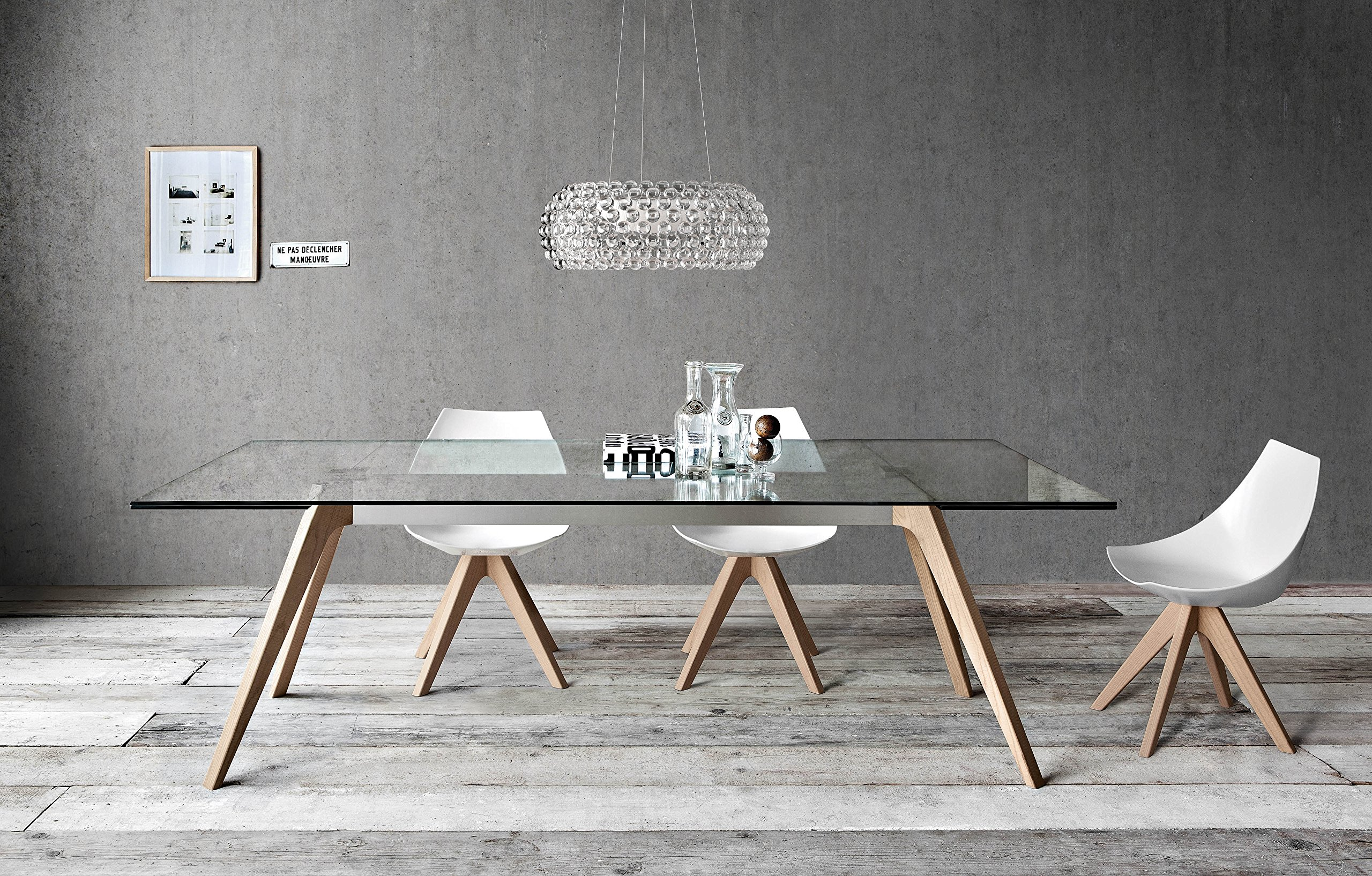 Delta + Gamma: Modern Dining Room Table + Six-chair Set - Clear glass table top. Natural oak legs. White matte lacquered seat. Natural oak legs. Extendable table. - kitchen-dining-room-furniture, kitchen-dining-room, dining-sets - A1R9QXHLq8L -