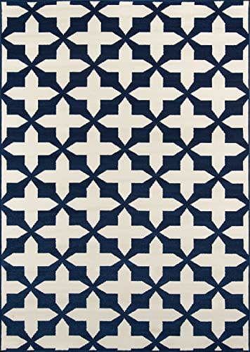 Momeni Rugs , Baja Collection Contemporary Indoor Outdoor Area Rug, Easy to Clean, UV protected Fade Resistant, 8 6 x 13 , Navy Blue