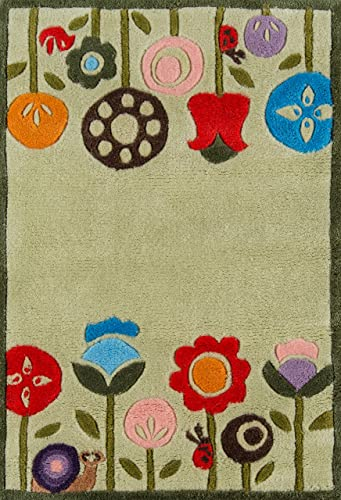 Momeni Rugs Lil Mo Whimsy Collection, Kids Themed Hand Carved Tufted Area Rug, 2 x 3 , Grass Green