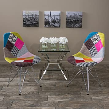 Amazon.com: Cassius Eames Style Mid Century Modern Multi Color Patchwork  Fabric Chairs (Set Of 2): Kitchen U0026 Dining