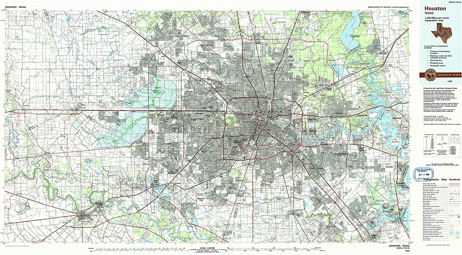 topographic map of houston Amazon Com Yellowmaps Houston Tx Topo Map 1 100000 Scale 30 X