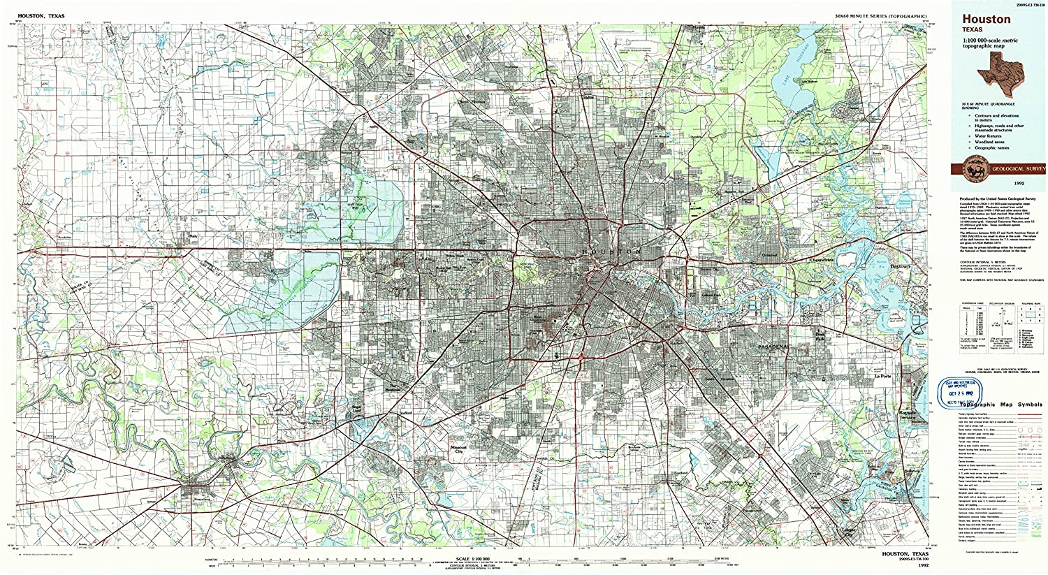 Amazon Com Yellowmaps Houston Tx Topo Map 1 100000 Scale 30 X 60