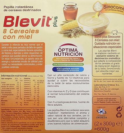 Blevit Plus Sinocome 8 Cereales con Miel - Paquete de 2 x 300 gr - Total: 600 gr: Amazon.es: Alimentación y bebidas