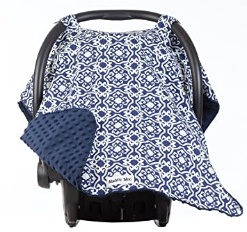 Carseat Canopy With Navy Minky