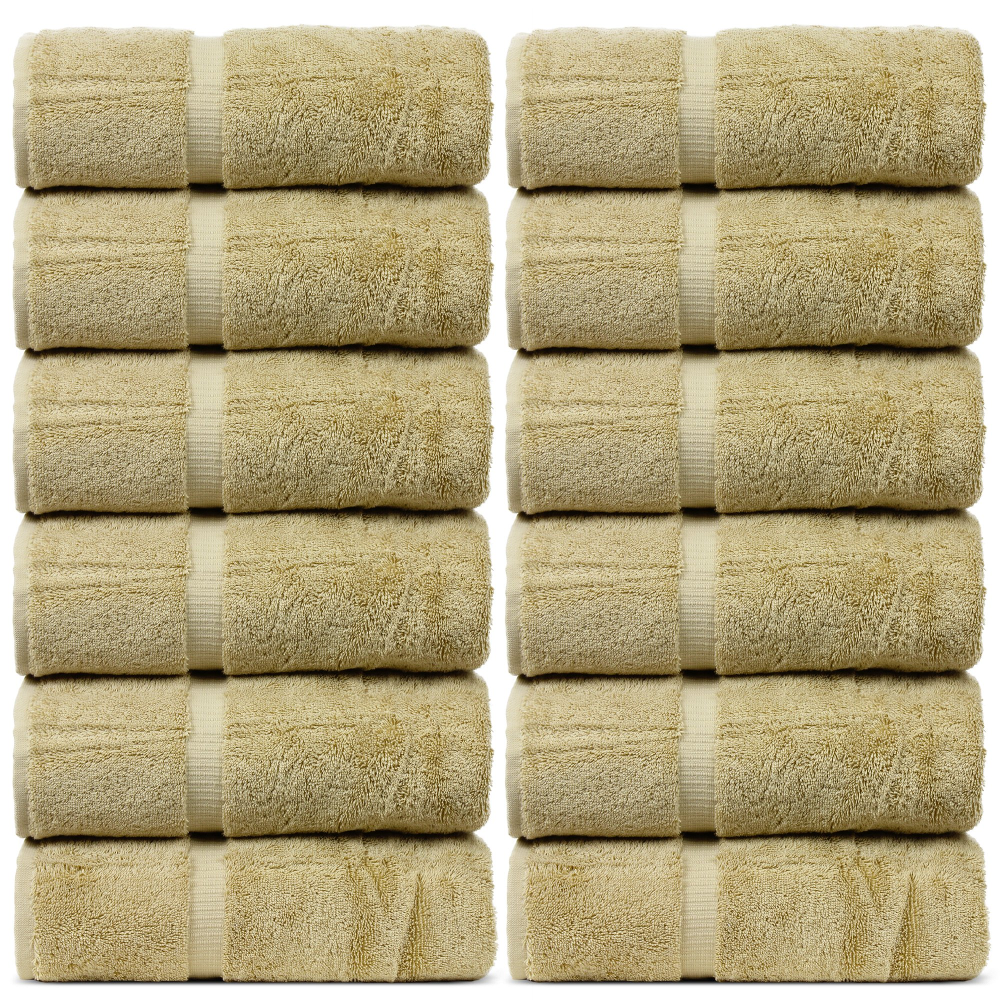 BC BARE COTTON Bare Cotton Luxury Hotel & Spa Towel Turkish Wash Cloths Dobby Border,Driftwood, Set of 12
