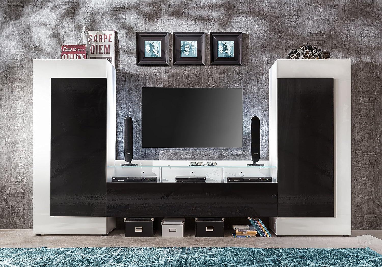 Wohnwand weiß schwarz hochglanz  trendteam COP96502 Wohnwand weiss Glanz, Absetzungen Schwarz ...