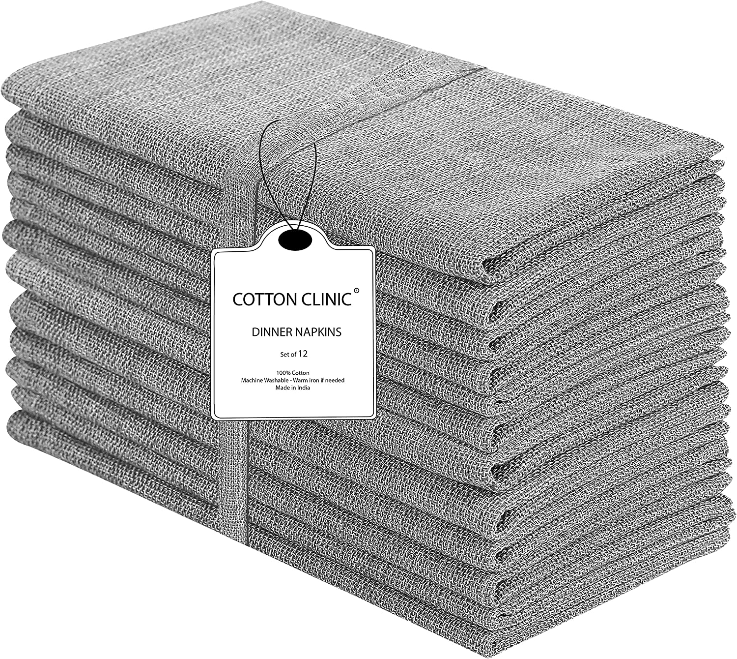Cotton Clinic 20x20 Cloth Dinner Napkins Set of 12, 100% Cotton Farmhouse Grass Cloth Dinner Napkins, Cocktail Napkins, Wedding Dinner Napkins with Mitered Corners and Generous Hem - Gray: Home & Kitchen