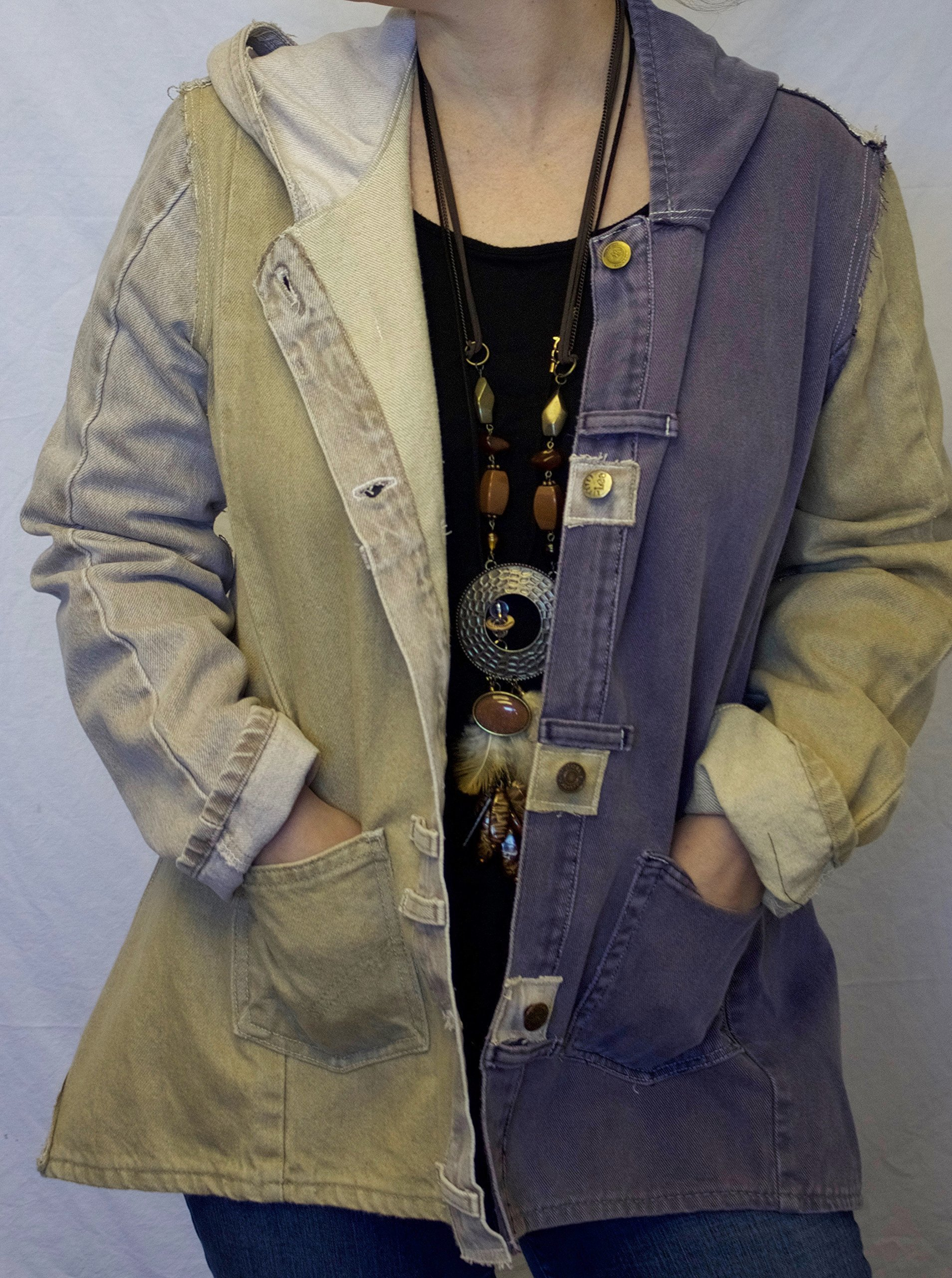 Hooded Denim Jacket Small made from upcycled denim