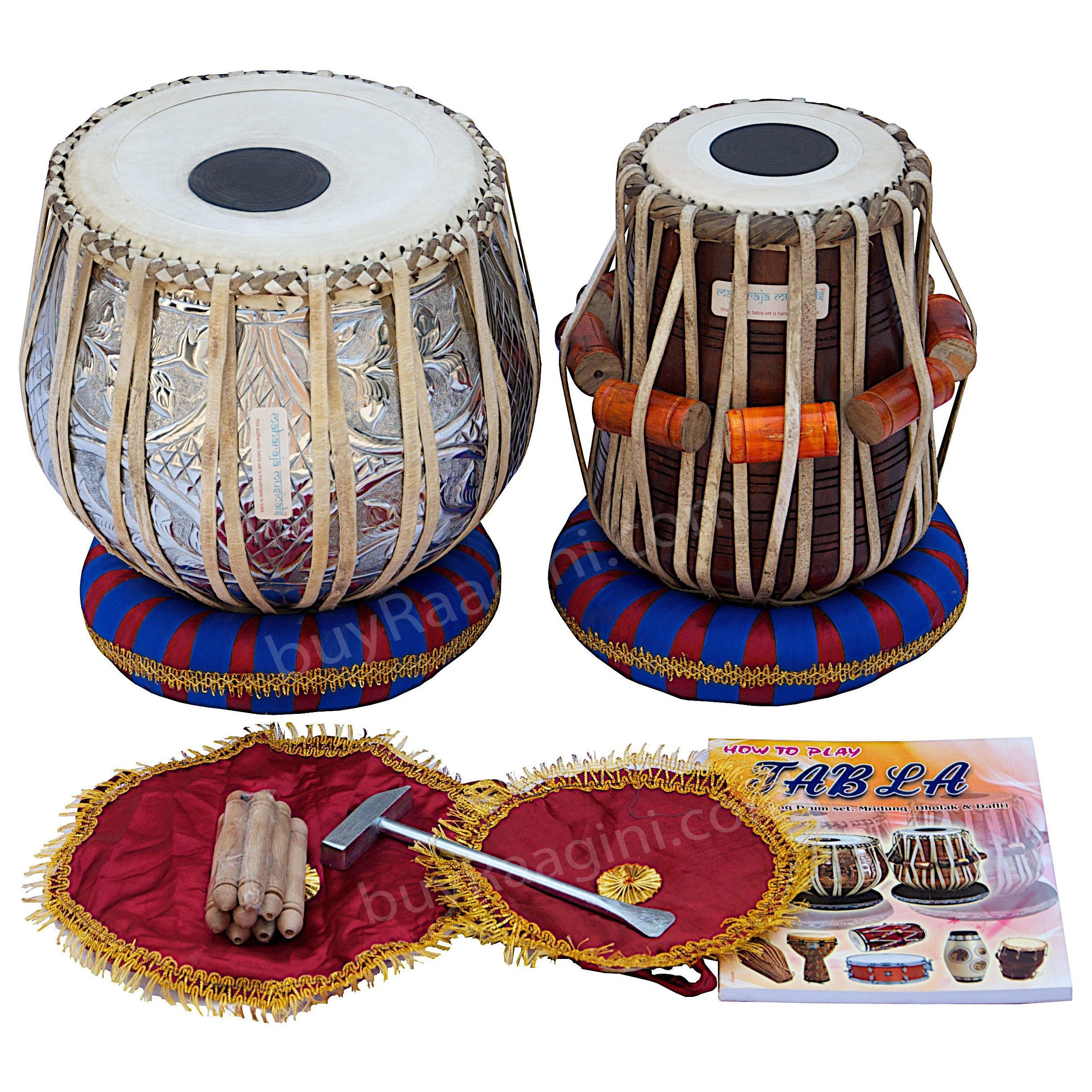 Maharaja Musicals Tabla Set, 3Kg Designer Chromed Copper Bayan, Sheesham Dayan Tabla, Professional Delhi Tabla Drums, Padded Bag, Book, Hammer, Cushions & Cover, Indian Hand Drums (PDI-BEA) by Maharaja Musicals