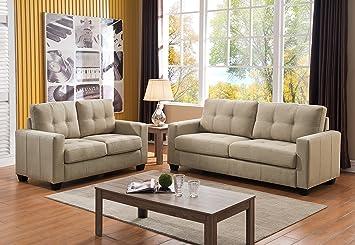 US Pride Furniture Caris Contemporary 2 Piece Fabric Sofa And Loveseat Set,  Beige