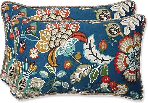 Pillow Perfect 563008 Outdoor Indoor Telfair Peacock Lumbar Pillows, 11.5 x 18.5 , Blue