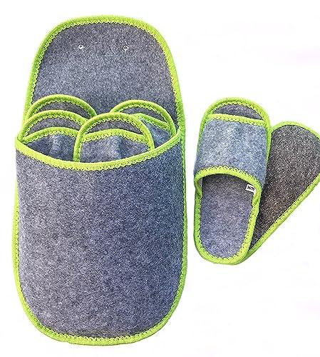 Set Hausschuhe Gästepantoffel Gästehausschuhe Filzpantoffel Farbe Grau 9 tlg