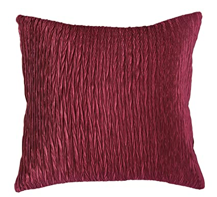 Amazon Rizzy Home T40 Gather Details On Both Sides Gorgeous Maroon Decorative Pillows