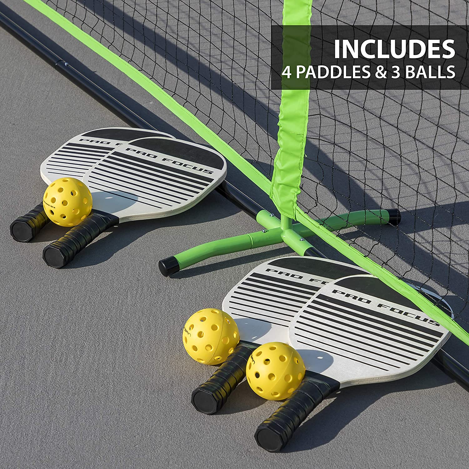 3 Pickleball Balls Pro Focus Pickleball Net Set and 1 Official Size Net East Point-FCA CNHUI-SX 1-1-11855-DS Complete with 4 Paddles