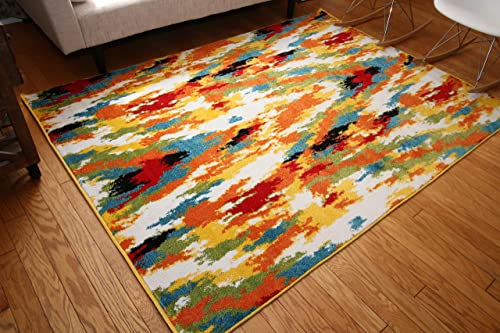 Radiance Art Collection Contemporary Modern Splat Wool Area Rug, 5 2 x 7 3, Multicolor