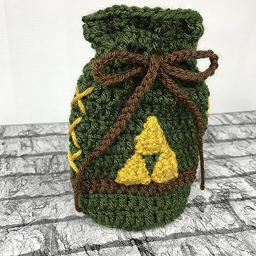 Amazoncom Link Inspired Rupee Bag Handmade Crochet Drawstring Bag