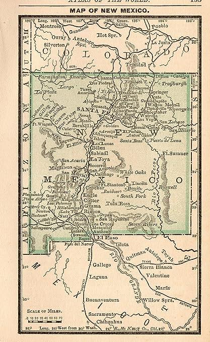 Amazon.com: 1888 Antique Miniature New Mexico Map Original ...