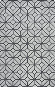 """Rizzy Home Luniccia Collection Wool Area Rug, 2'6"""" x 10', Grey/Taupe Geometric"""