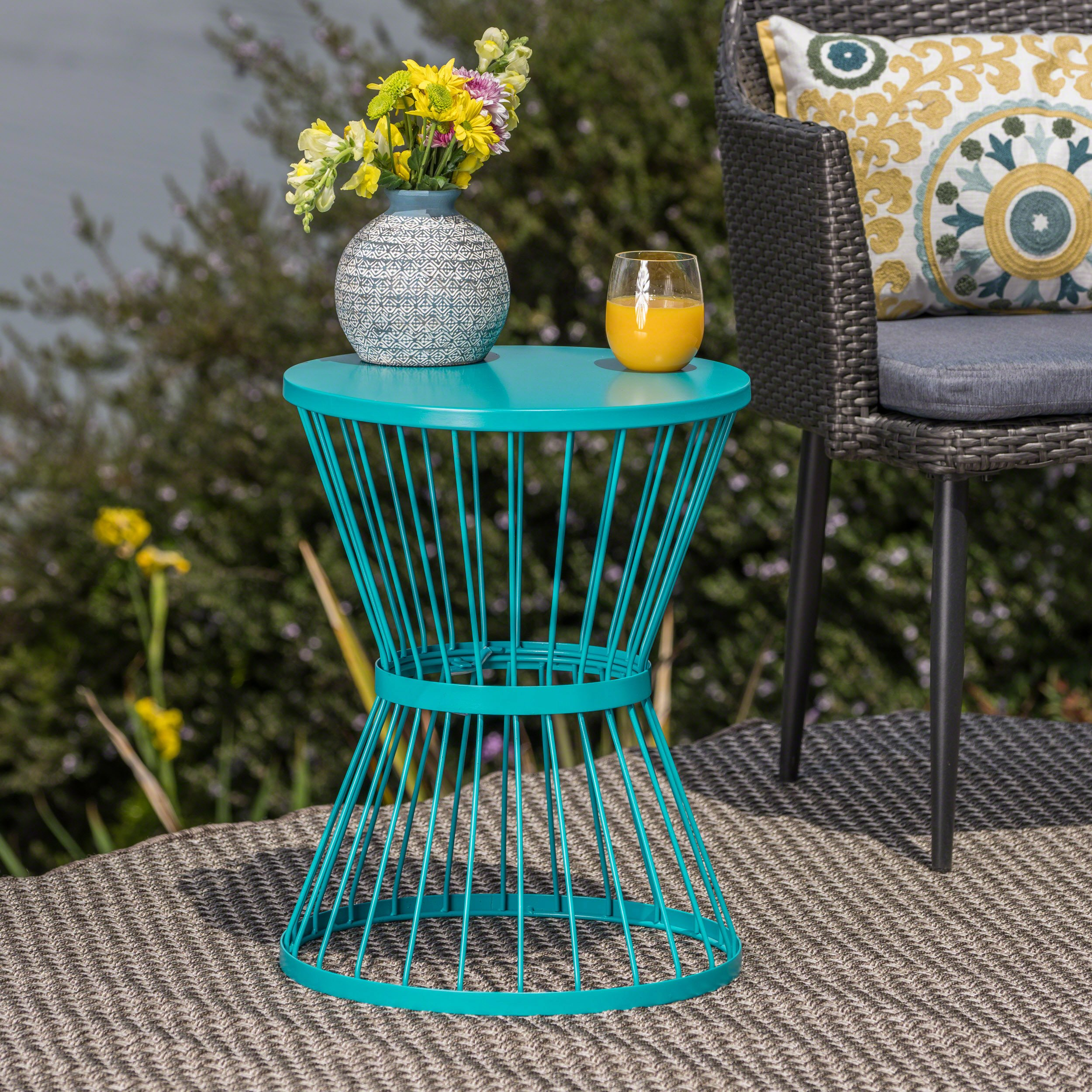 Great Deal Furniture Fern Outdoor 16 Inch Matte Teal Iron Side Table