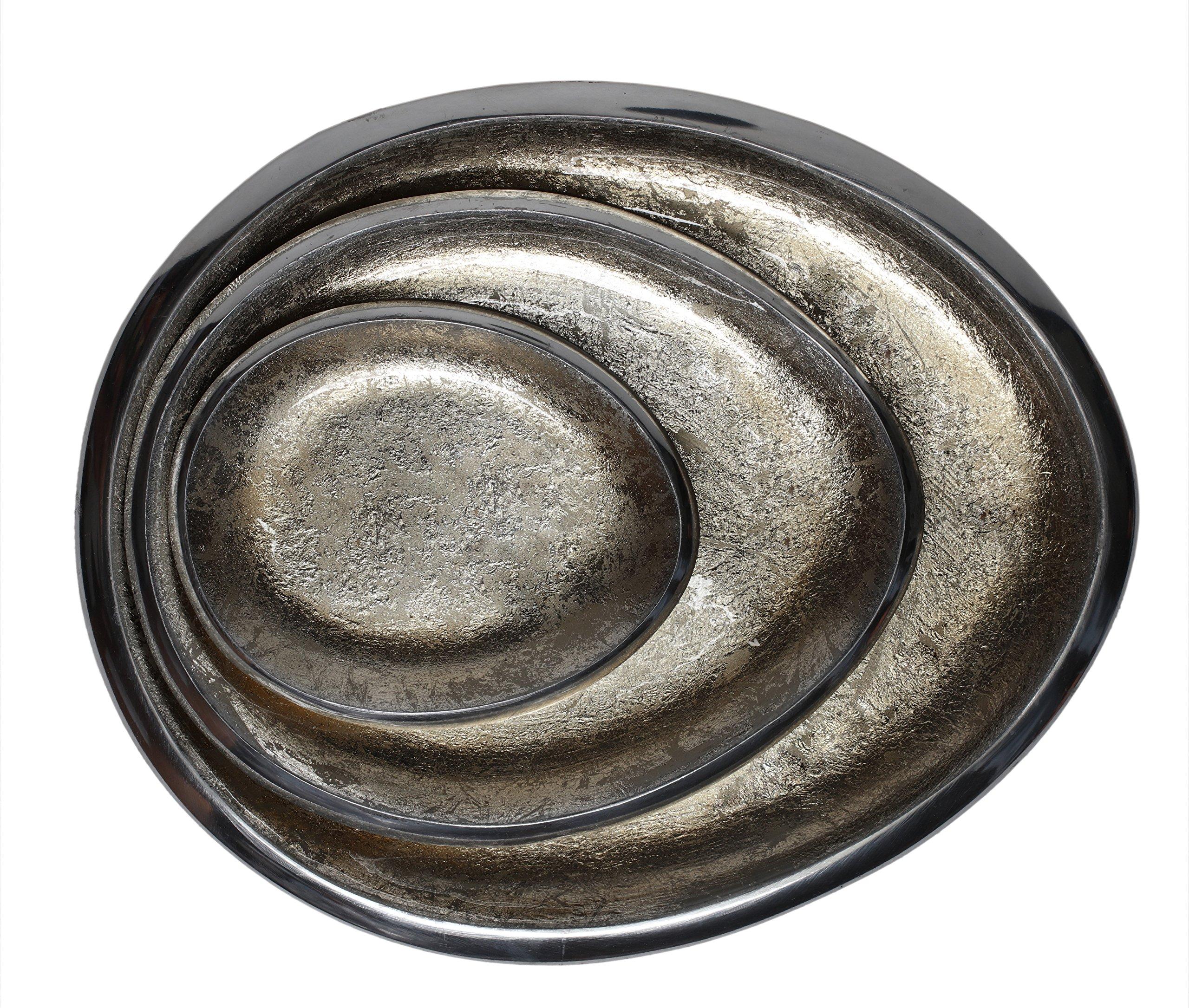 Melange Home Decor Cuivre Collection, Set of 3 Oval Platters - 6'', 9'' and 12'', Color - Beige