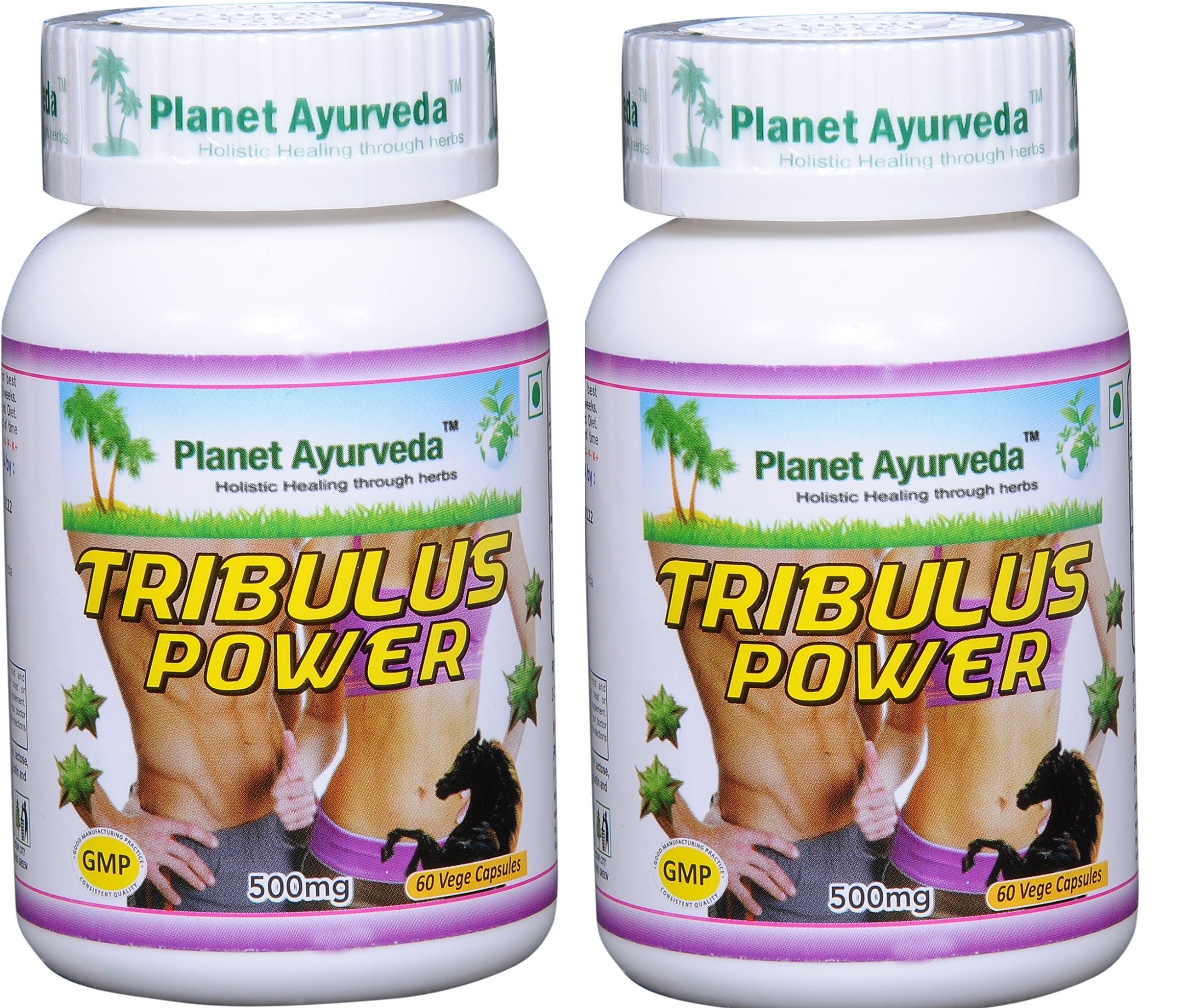 Planet Ayurveda Tribulus Power, 500mg Veg Capsules - 2 Bottles - Bring Out the Man in You